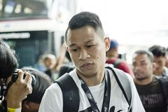 Combattant de championnat du poids plume un de Sagetdao Petpayathai images libres de droits