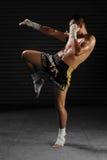 Combattant masculin thaïlandais de Muay dans les actions photo libre de droits