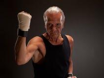 Combattant supérieur posant avec le poing serré Image stock