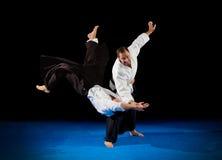 Combattants d'arts martiaux d'isolement image libre de droits