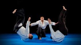 Combattants d'arts martiaux d'isolement photos libres de droits