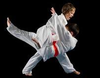 Combattants d'arts martiaux de garçons photo stock