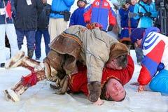 Combattants dans des vêtements du nord nationaux Photo libre de droits