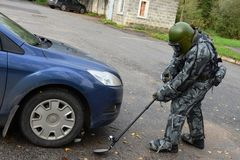 Combattants de formation à Moscou Image libre de droits