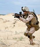 Combattendo nel deserto Immagine Stock