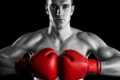 Combattente in bianco e nero con i guanti rossi Fotografia Stock Libera da Diritti