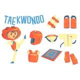 Combattente del Taekwondo del ragazzo, illustrazione allegra di carriera di arti marziali professionali di sogno future dei bambi Immagine Stock