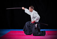 Combattente di arti marziali con il katana Fotografia Stock Libera da Diritti