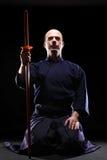 Combattente di Kendo con Bokken Immagini Stock
