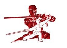 Combattente di Kung Fu della donna e dell'uomo, arti marziali con il grafico del fumetto di azione delle armi illustrazione di stock