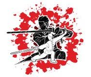 Combattente di Kung Fu della donna e dell'uomo, arti marziali con il grafico del fumetto di azione delle armi illustrazione vettoriale