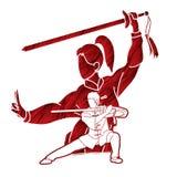 Combattente di Kung Fu della donna e dell'uomo, arti marziali con il grafico del fumetto di azione delle armi royalty illustrazione gratis