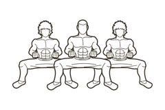 Combattente di Kung Fu, grafico del fumetto di azione di arti marziali illustrazione vettoriale