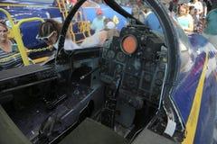 Combattente Jet Cockpit su esposizione ad un museo Fotografia Stock