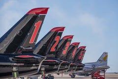 Combattente Jet Group di Airshow sulla terra fotografia stock