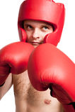 Combattente professionale isolato su priorità bassa bianca Fotografia Stock Libera da Diritti