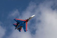 Combattente Sukhoi-27 in volo Fotografia Stock