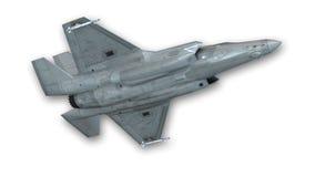 Combattente unito che decolla, aereo militare di colpo isolato su bianco, vista dal basso Immagine Stock Libera da Diritti