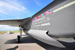 Combattente unito polivalente di colpo di azione furtiva del fulmine II di Lockheed Martin F-35 su esposizione a Singapore Airshow Fotografia Stock Libera da Diritti
