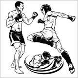 Combattenti delle arti miste marziali Emblema del club di sport Illustrazione di vettore illustrazione di stock