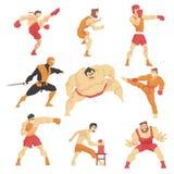 Combattenti di arti marziali che dimostrano le scosse differenti di tecnica fissate degli sport asiatici di combattimento profess illustrazione di stock