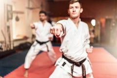 Combattenti di arti marziali sull'allenamento in palestra Immagini Stock