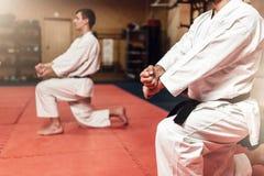Combattenti di arti marziali sull'allenamento in palestra Fotografia Stock Libera da Diritti