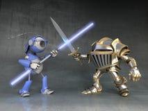 Combattez le chevalier et le robot Image stock