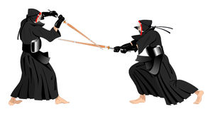 Combattimento dei guerrieri di Kendo Immagine Stock Libera da Diritti