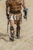 Combattimento del gladiatore nell'arena del circo romano Fotografia Stock