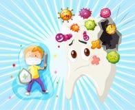 Combattimento del ragazzo con la carie dentaria Fotografie Stock
