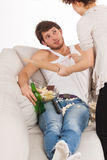 Combattimento della moglie con l'alcolismo Fotografia Stock Libera da Diritti