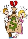 Combattimento delle coppie sopra i soldi Fotografia Stock Libera da Diritti