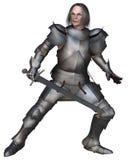Combattimento medioevale anziano del cavaliere Fotografia Stock