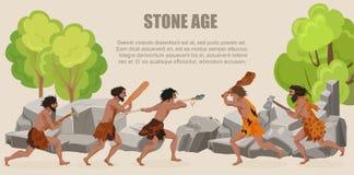Combattimento primitivo delle tribù degli uomini di guerra di età della pietra illustrazione vettoriale