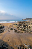 Combesgate beach. Low tide on Combesgate Beach in Woolacombe Stock Photos