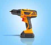 Combi drill impact drill and screw driver on blue background 3d Stock Photos