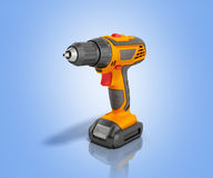 Combi drill impact drill and screw driver 3d render on blue back. Ground Royalty Free Stock Photography