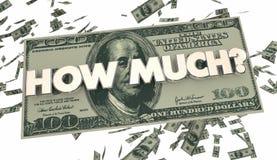 Combien de coût des prix de dépense d'argent liquide d'argent illustration libre de droits
