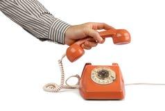 Combiné de réponse de téléphone de vintage Photographie stock libre de droits
