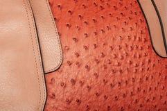 Combinação costurada de duas texturas do couro de imitação fotografia de stock