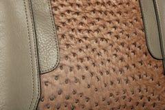 Combinação costurada de duas texturas do couro de imitação foto de stock royalty free