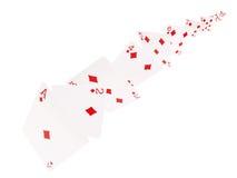 A combinação de cartões de jogo Diamantes Em um fundo branco Fotografia de Stock Royalty Free