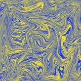 Combinação de mármore líquida da textura fresca de amarelo e de azul ilustração do vetor