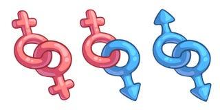 Combinação masculina e fêmea dos desenhos animados dos símbolos Imagens de Stock