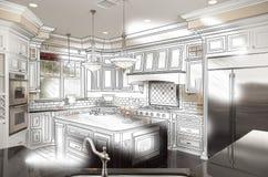 Combinación de encargo hermosa del dibujo y de la foto de estudio de la cocina libre illustration
