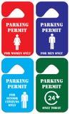 Combinación de etiquetas del estacionamiento stock de ilustración