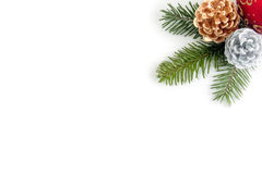 Combinación de la esquina de decoraciones de la Navidad Fotografía de archivo libre de regalías