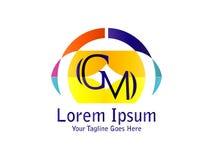 Combinación del GM de la letra para el elemento de marcado en caliente de la letra del logotipo del diseño de la compañía stock de ilustración