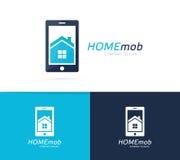 Combinación del logotipo de la casa y del teléfono del vector Propiedades inmobiliarias y símbolo o icono móvil Apartamento y age Fotografía de archivo libre de regalías